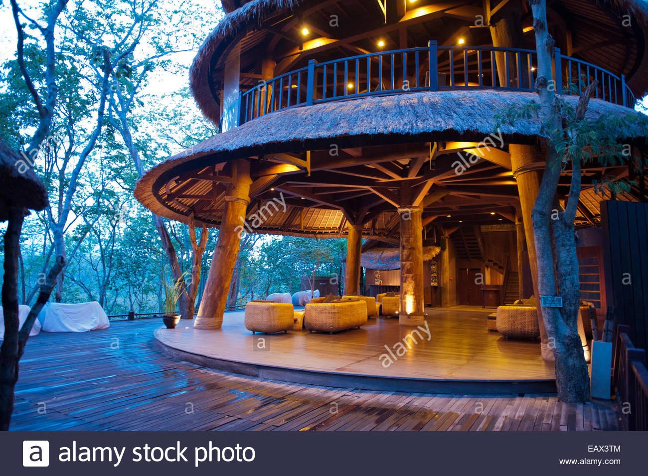 The lobby at the Menjangan Resort. - Stock Image