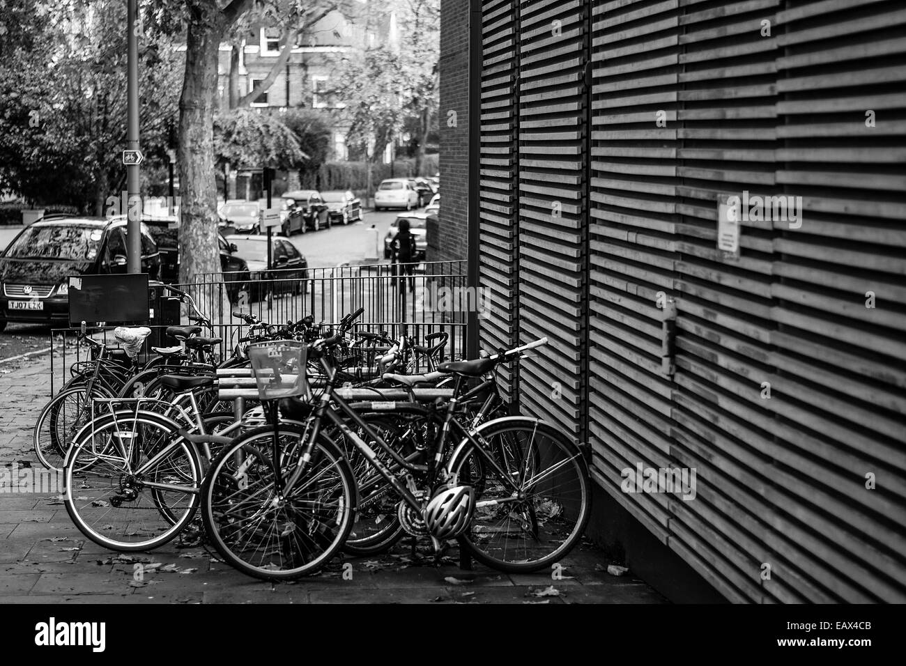 Bicycles parked in Swiss Cottage. North London - Stock Image