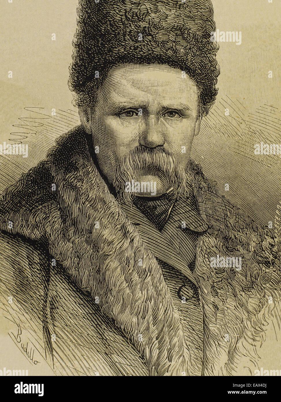 Taras Shevchenko (1814-1861). Ukrainian poet. Portrait. Engraving by La Ilustracion Espanola y Americana, 1877. - Stock Image
