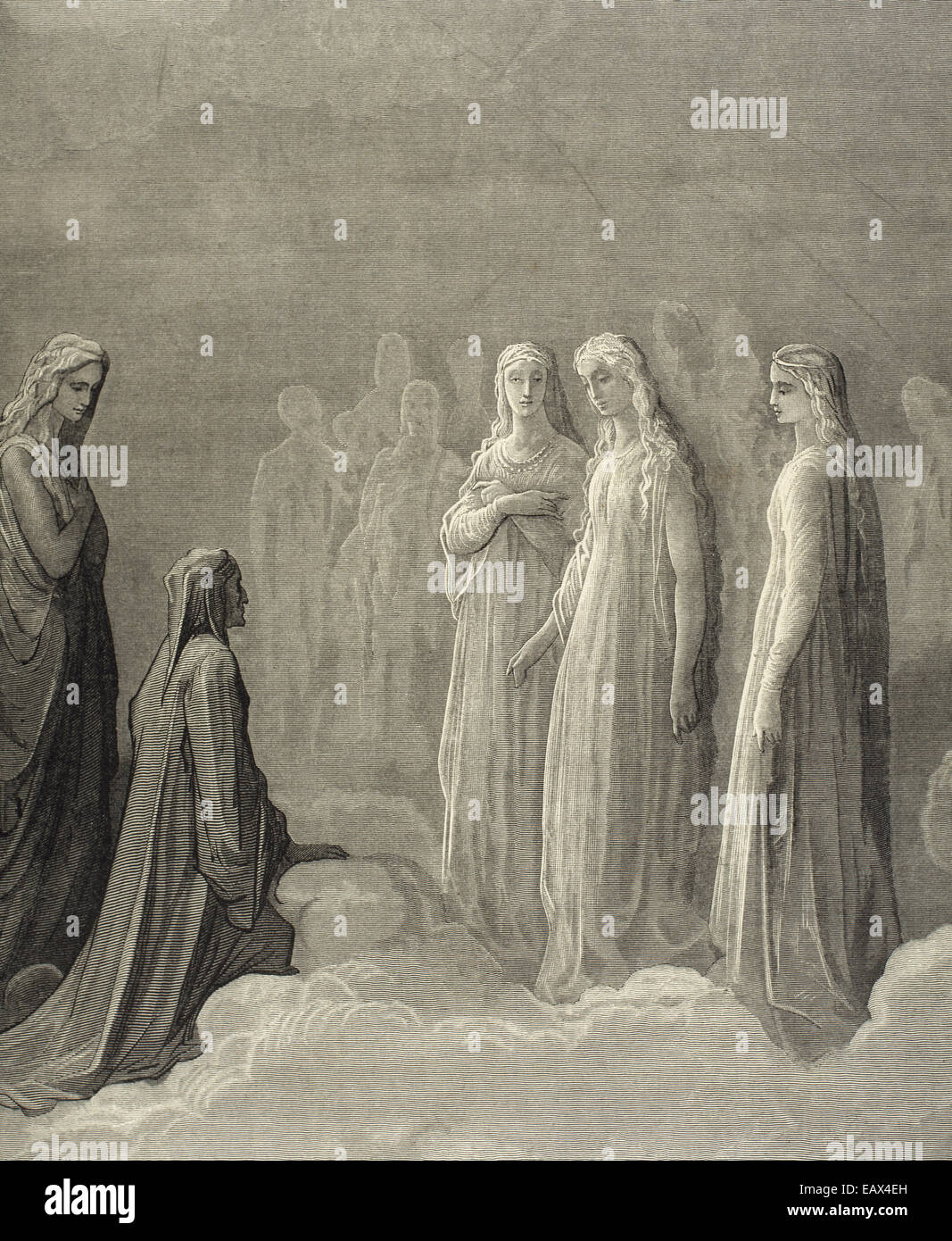 Divine Comedy by Dante Alighieri (1265-1321). Paradise. Canto III. Piccarda Donati and souls whose vows had been Stock Photo