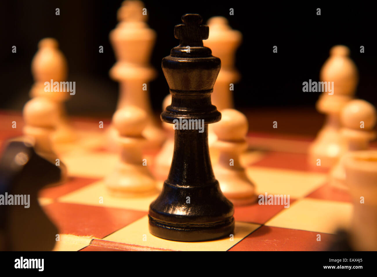 chess king checkmate on chess board - Stock Image