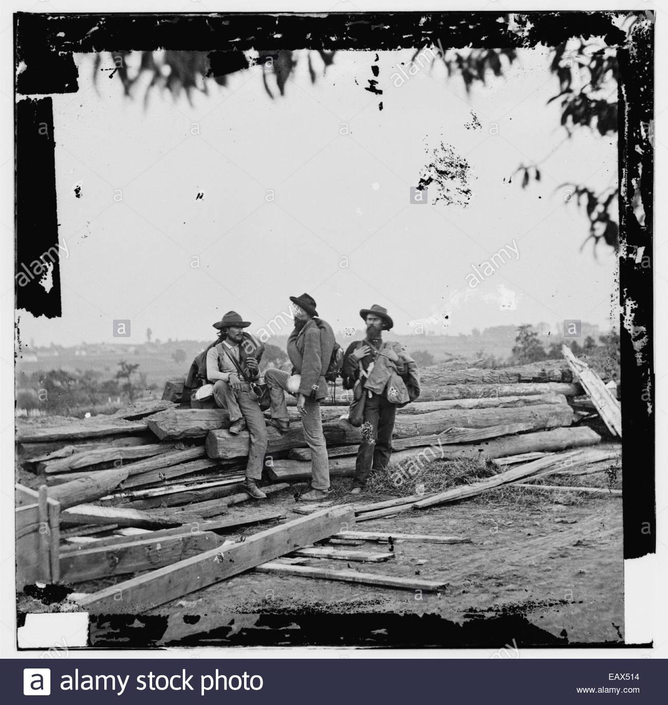 An American Civil War era photograph of three Confederate prisoners captured at Gettysburg. - Stock Image