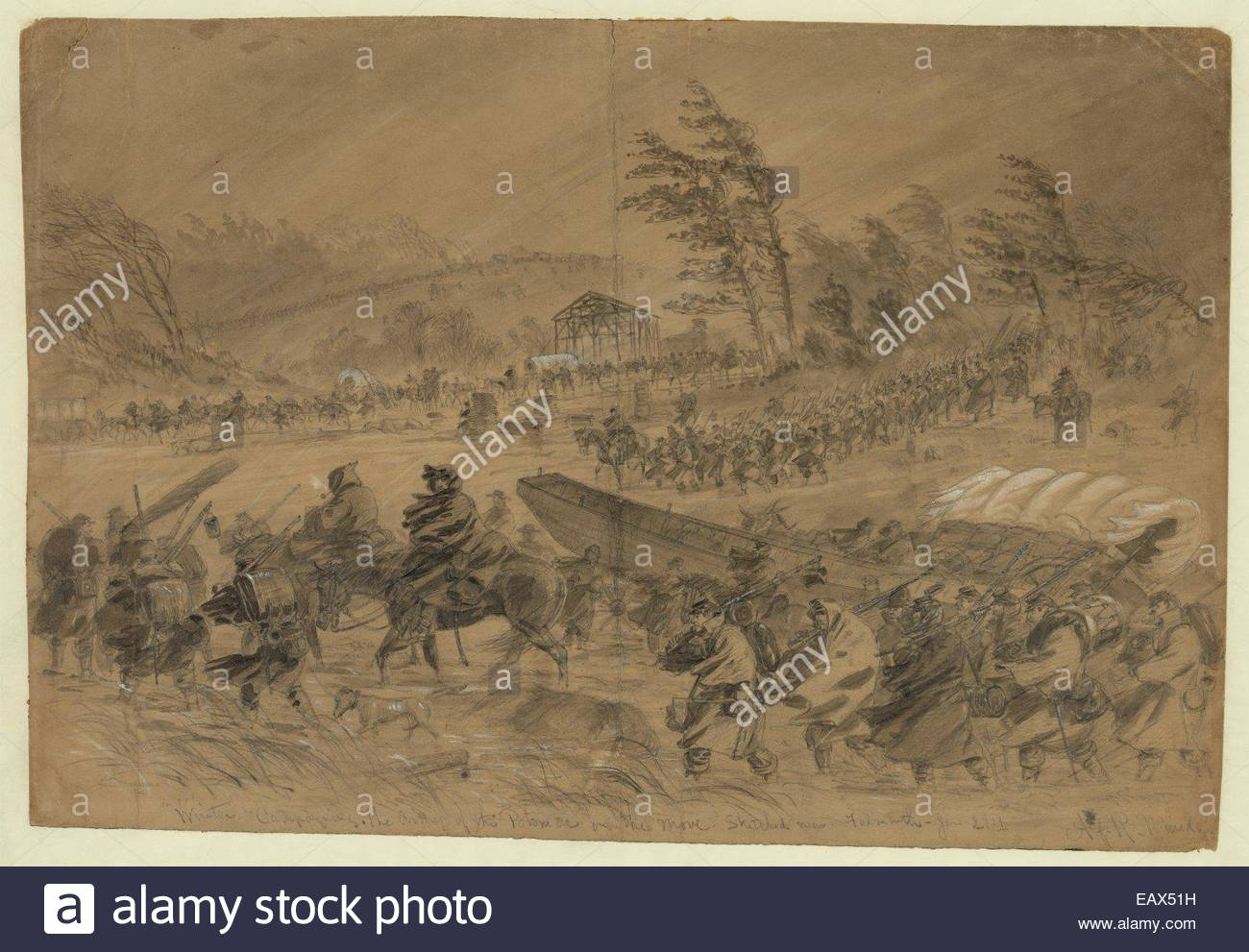 A sketch of the Army of the Potomac advancing toward the Rappahannock River during winter. - Stock Image