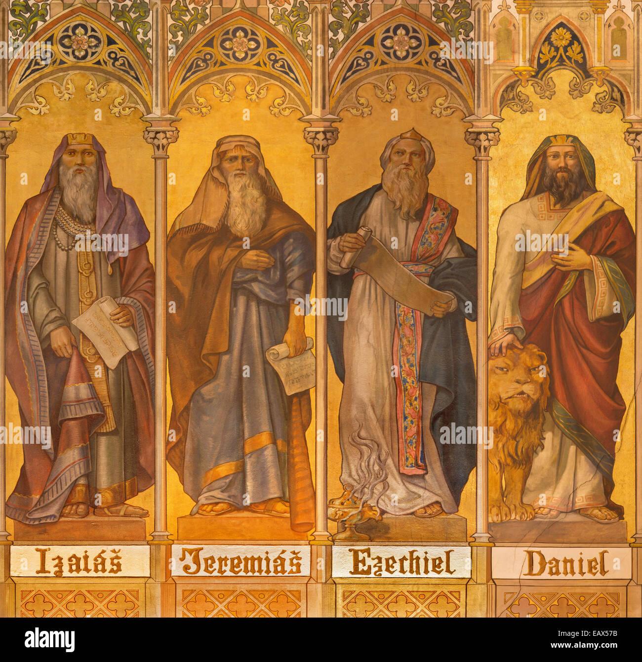 TRNAVA, SLOVAKIA - OCTOBER 14, 2014: The neo-gothic fresco of big prophets Isaiah, Jeremiah, Ezekiel, Daniel in - Stock Image