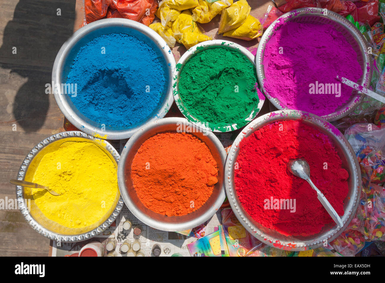 Multicoloured powder paints on sale for the Holi festival in Kathmandu, Nepal - Stock Image