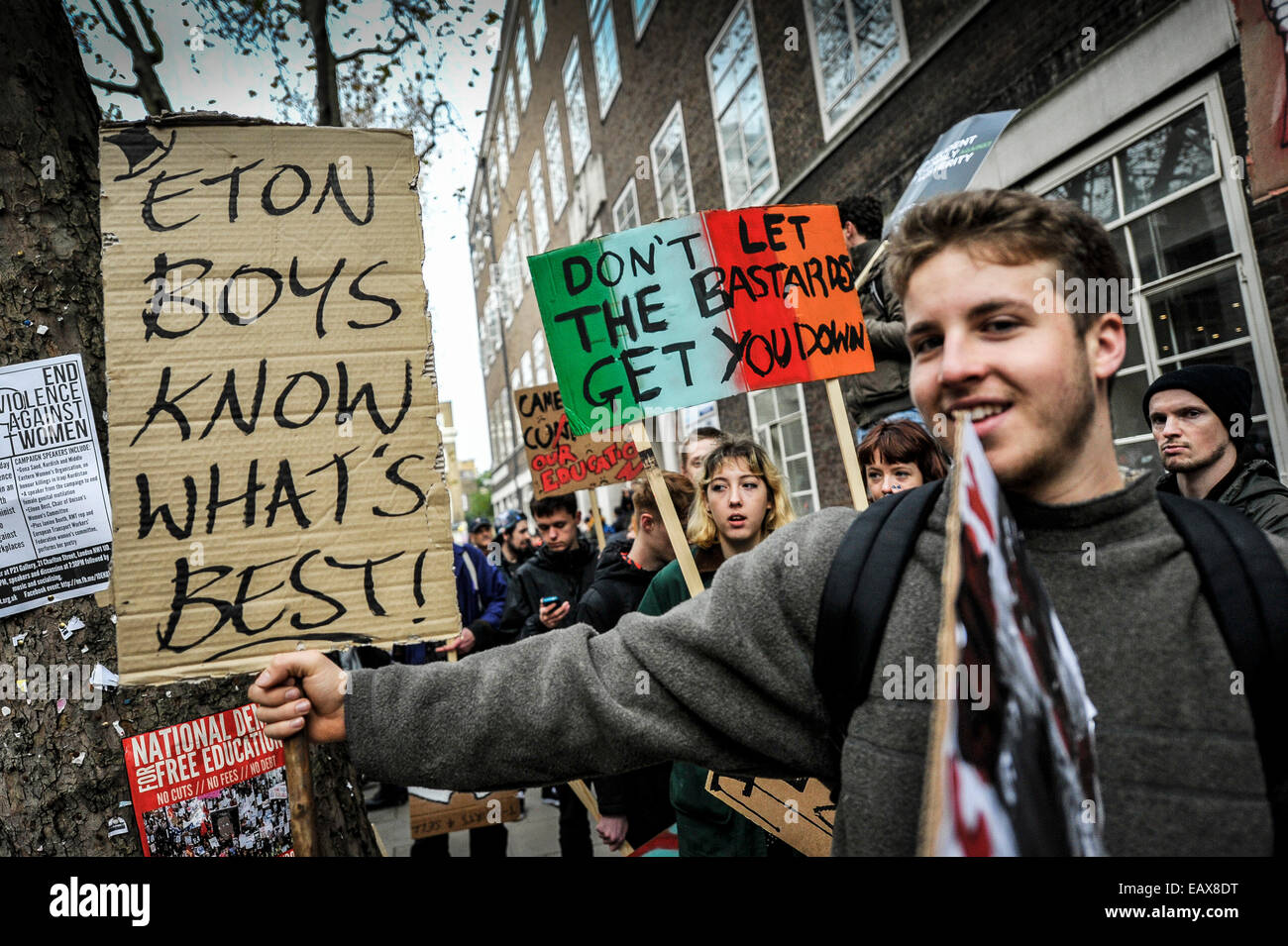 A student demonstration against education fees. - Stock Image