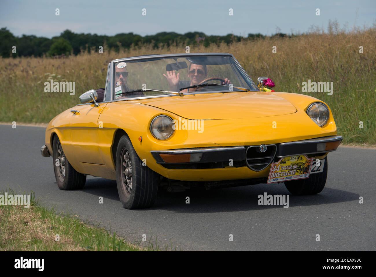 Alfa Romeo Giulietta Spider Of 1970 In The Tour De Bretagne 2014 Stock Photo Alamy