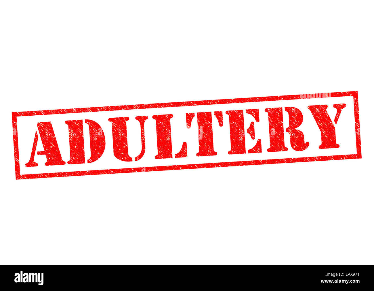 ADULTERY red Rubber Stamp over a white background. - Stock Image