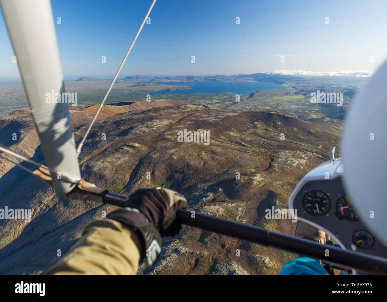 South west Iceland between Reykjavik and Snaefellsnes, Aerial shots from a small ultra light Plane. - Stock Image