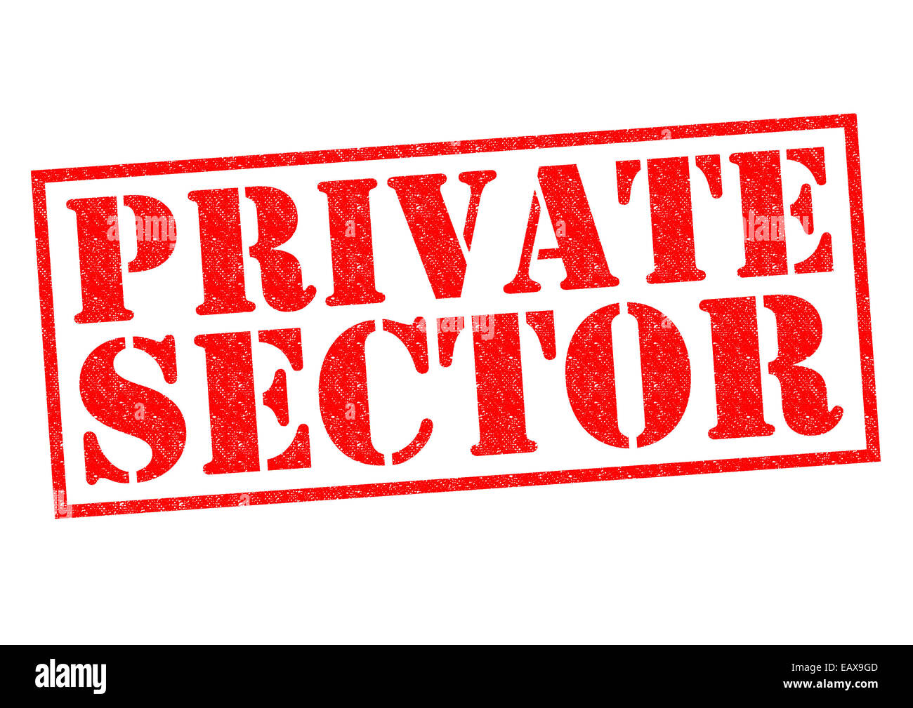 PRIVATE SECTOR red Rubber Stamp over a white background. Stock Photo