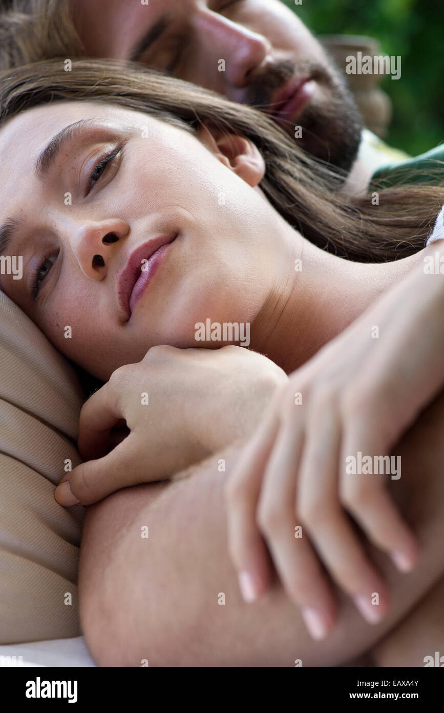 Couple napping together - Stock Image