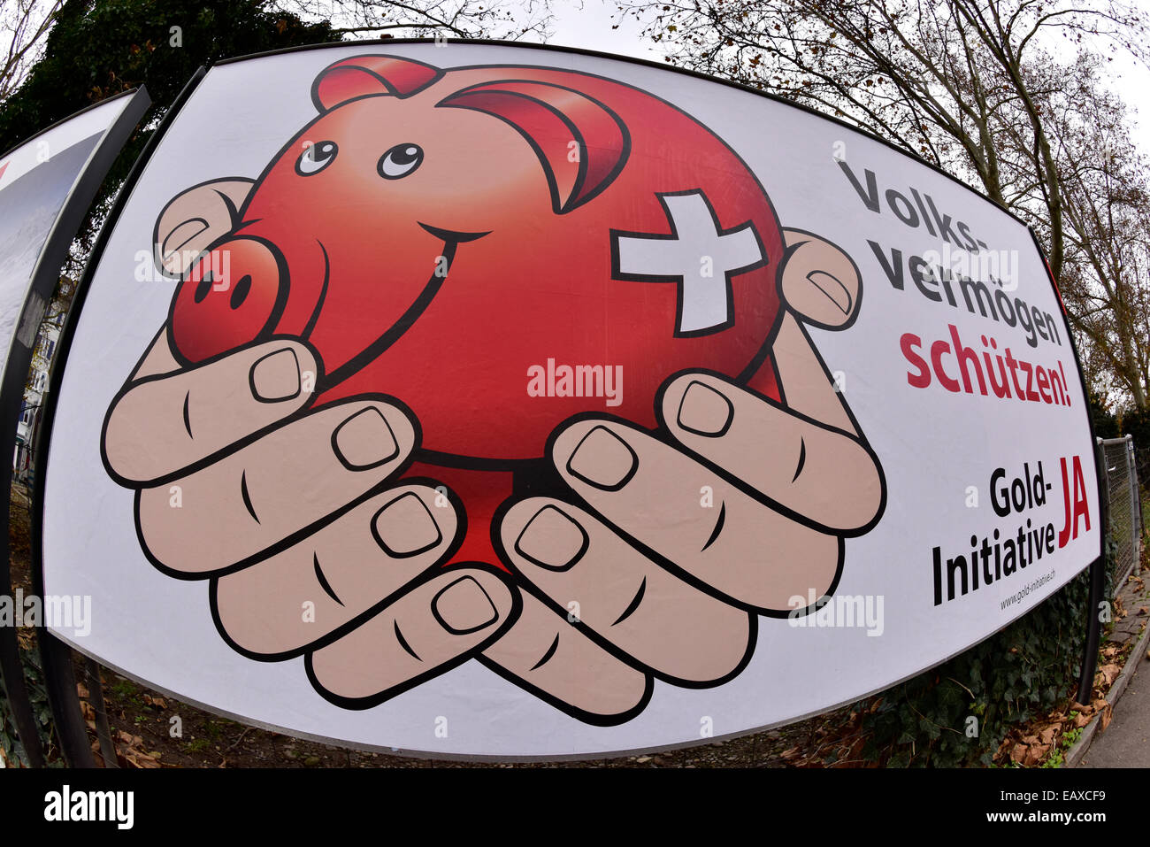 Zurich, Switzerland. 21st Nov, 2014. A large referendum campaign poster for the Swiss 'Gold Initiative' - Stock Image