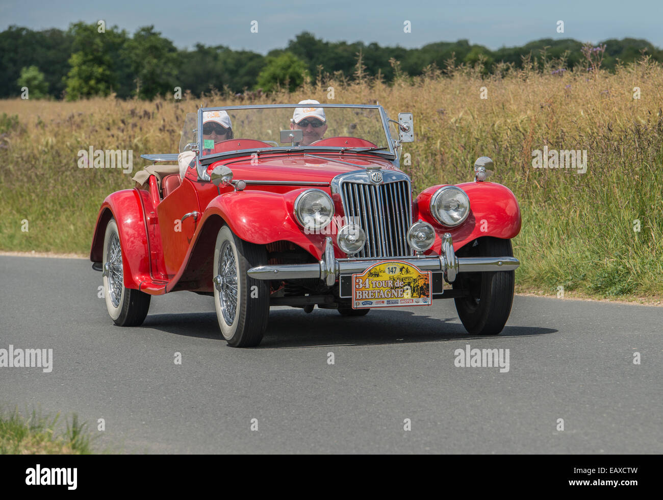 MG TF 1500 Roadster of 1954 in the Tour de Bretagne 2014, France - Stock Image