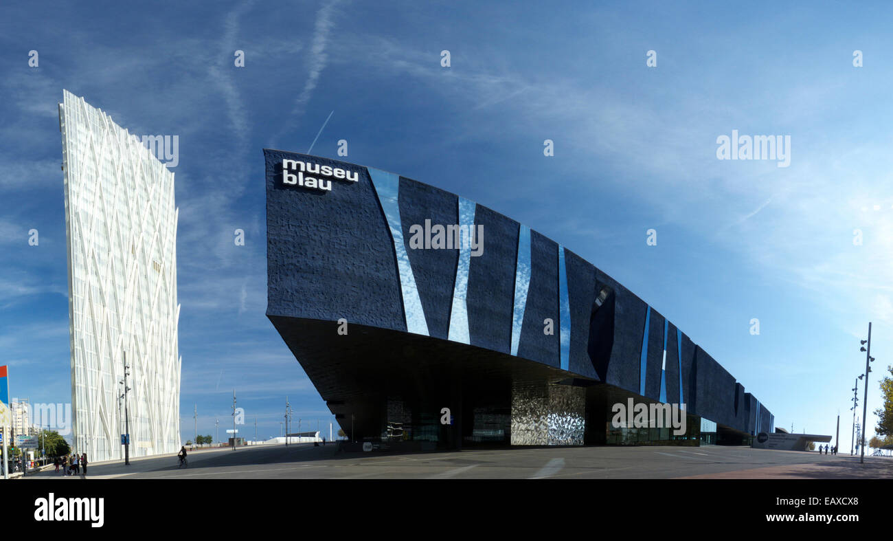 Spain Catalonia Barcelona Telefonica office building and Museum Blau at Daigonal Forum - Stock Image