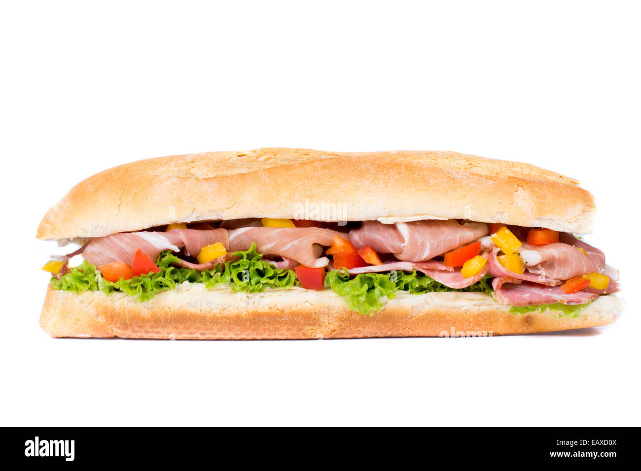 Isolated on white sandwich with vegetables and prosciutto - Stock Image