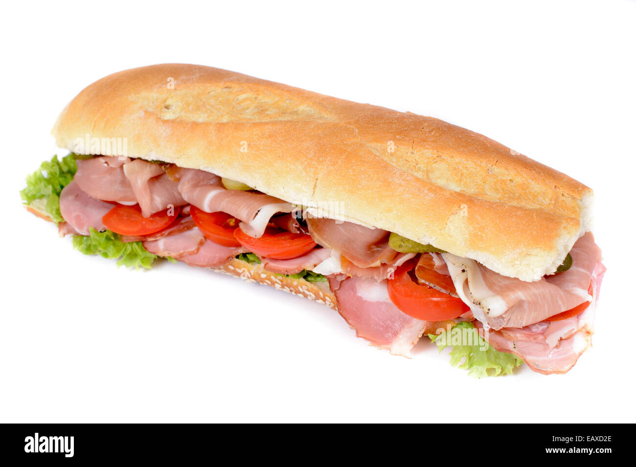 Proscuitto submarine sandwich isolated on white - Stock Image