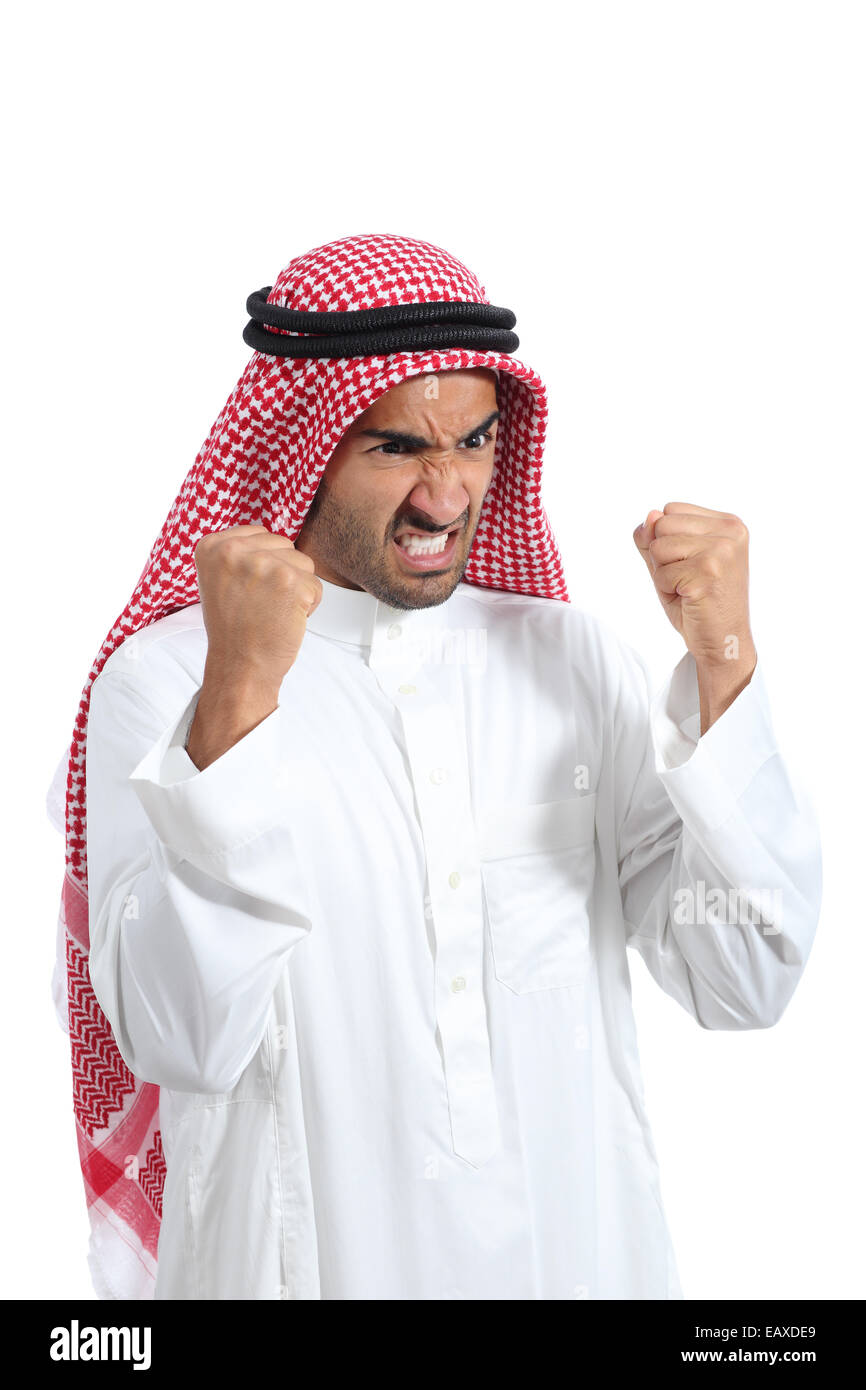 Angry and furious arab saudi man isolated on a white background - Stock Image