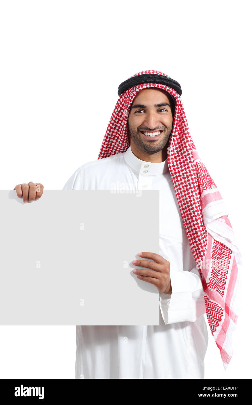 Arab saudi promoter man holding a blank horizontal sign isolated on a white background Stock Photo