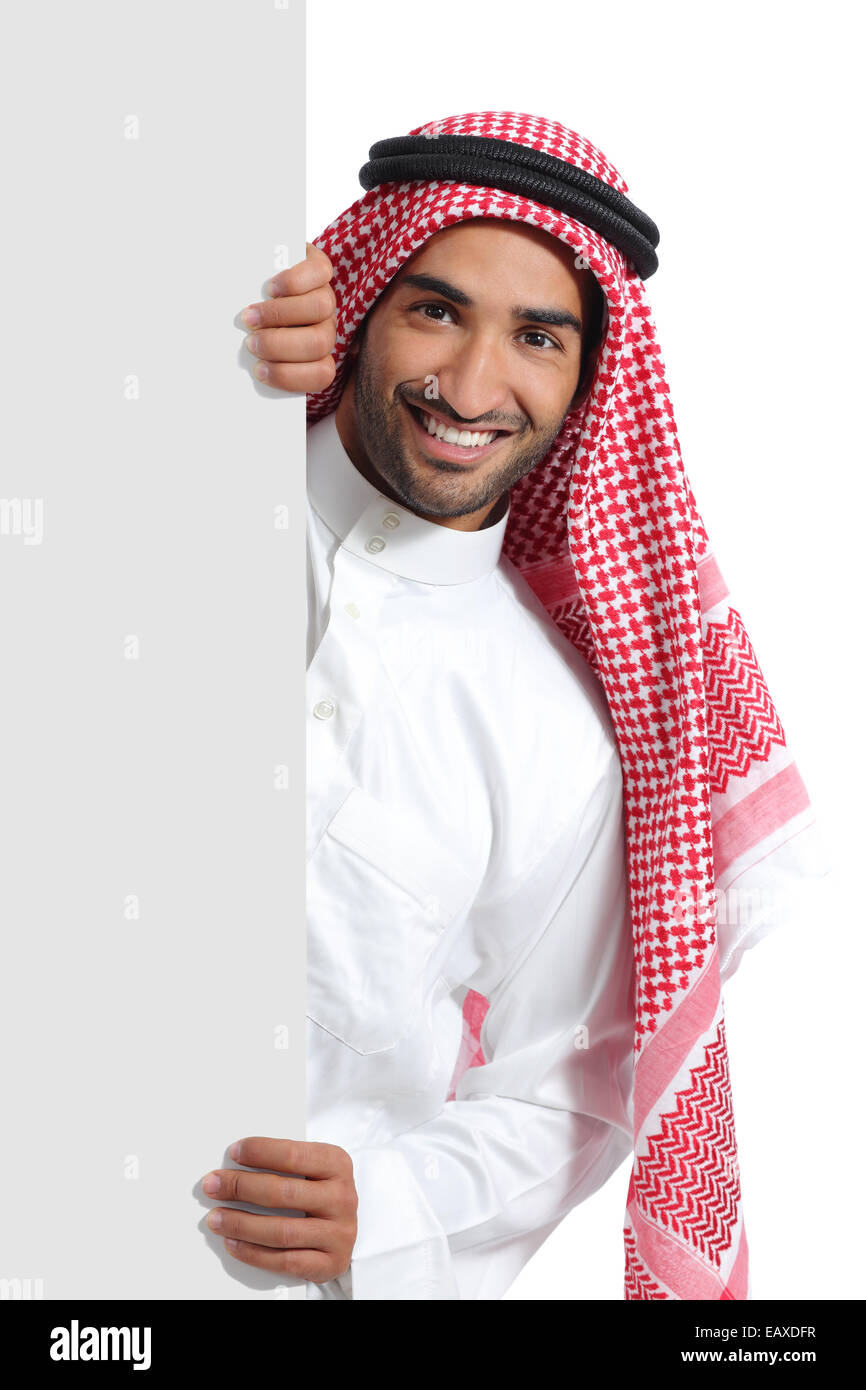 Arab saudi promoter man holding a blank sign isolated on a white background Stock Photo