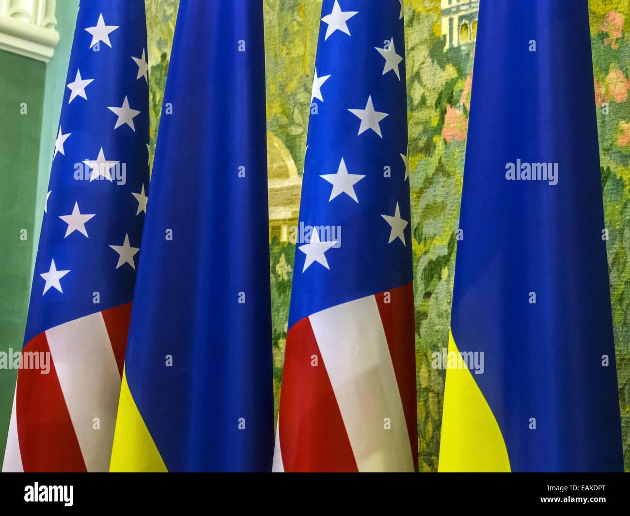 Nov. 21, 2014 - US and Ukranian flags -- US Vice President Joe Biden announced in Kiev to increase military aid Stock Photo