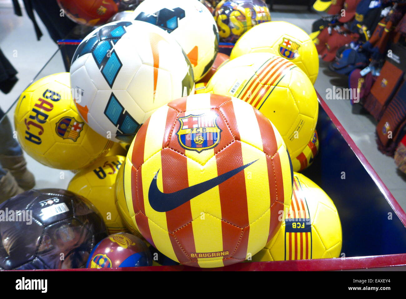 Spain Catalonia Barcelona FC Barcelona Fan club souvenirs shop - Stock Image