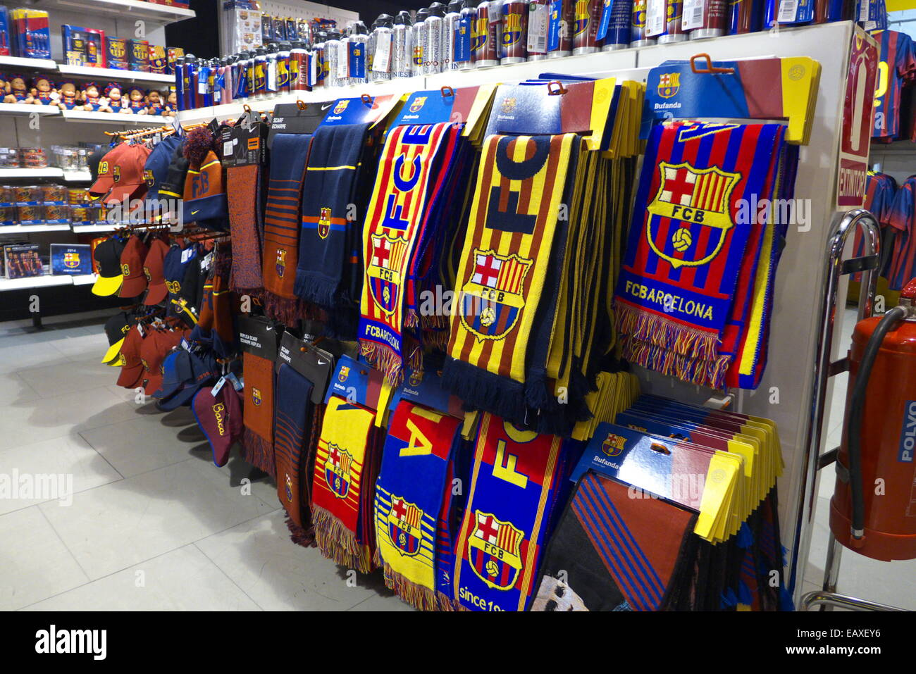 spain catalonia barcelona fc barcelona fan club souvenirs shop stock photo 75570522 alamy. Black Bedroom Furniture Sets. Home Design Ideas