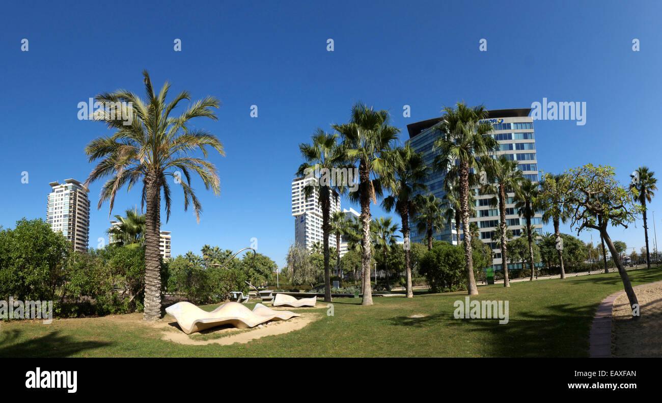 Spain Catalonia Barcelona Parc Park Diagonal-Mar residential apartment Stock Photo