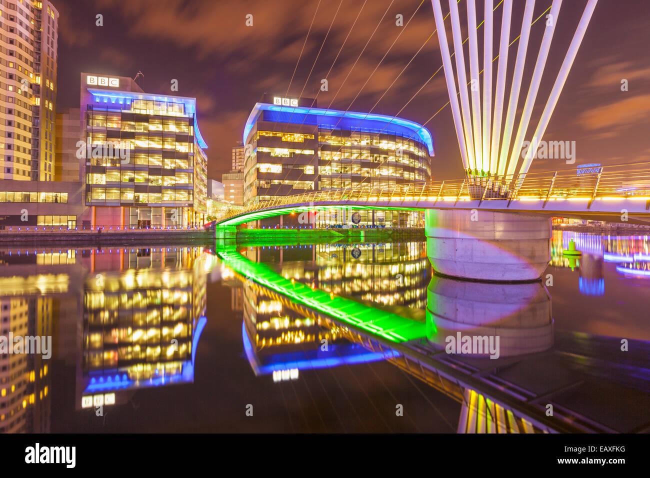 Media City UK Salford Quays manchester skyline Greater Manchester England UK GB EU Europe - Stock Image