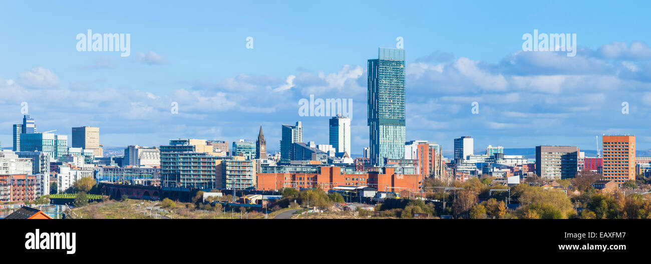 Manchester skyline Beetham Tower and Manchester Skyline Manchester uk manchester England UK GB EU Europe - Stock Image