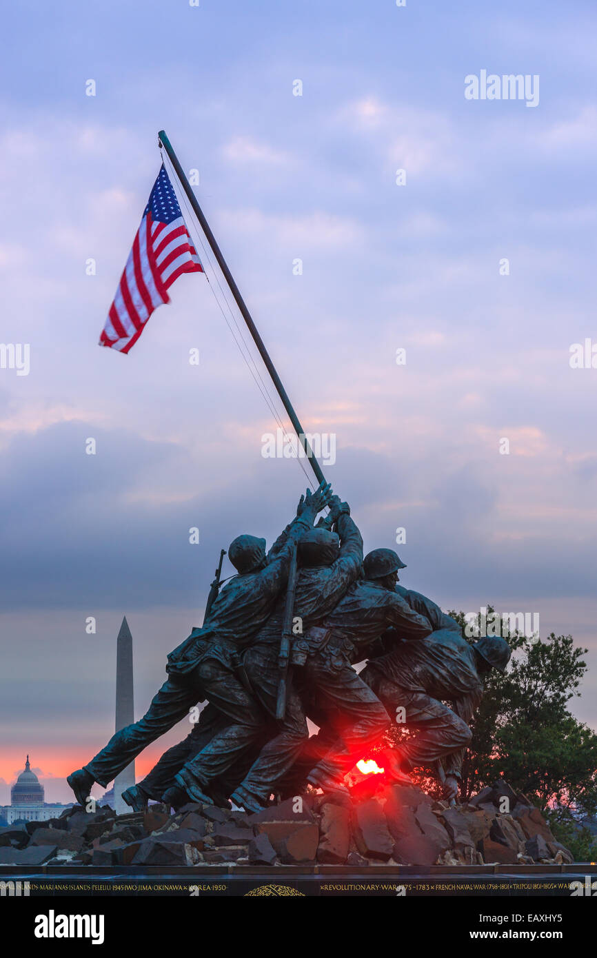 US Marine Corps War Memorial, also known as the Iwo-Jima Memorial at Arlington, Virginia, USA. - Stock Image