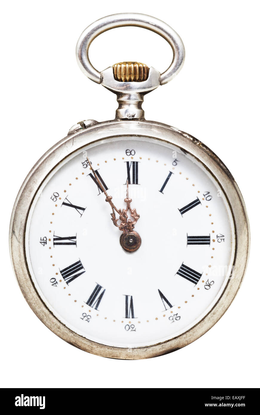 five to twelve o'clock on the dial of retro pocket watch isolated on white background - Stock Image