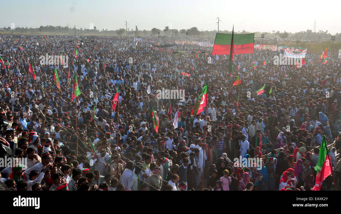 Large numbers of PTI supporters are listening speech of