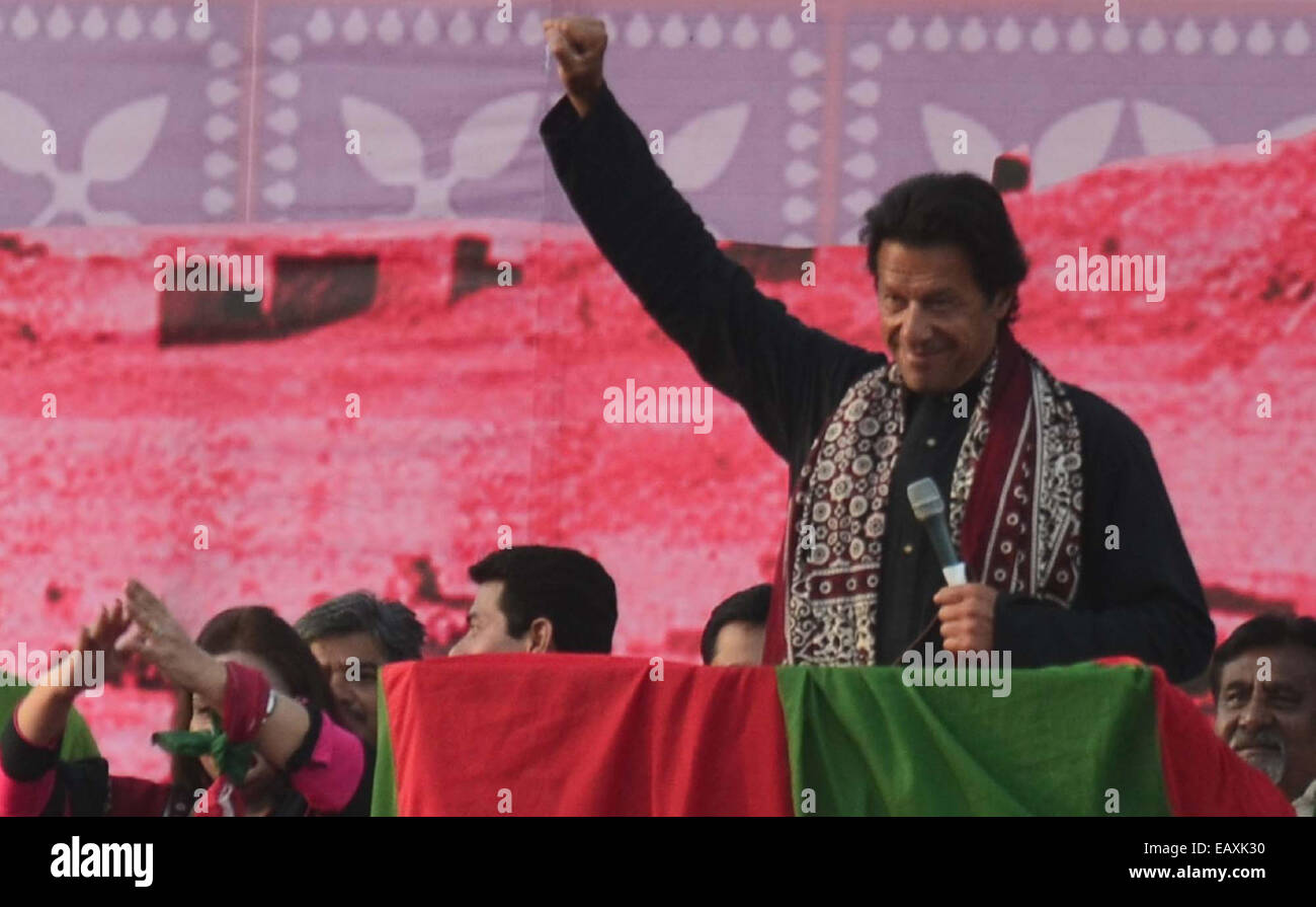 Imran Khan postures during addressing to his supporters while a political gathering held at Aliabad area of Larkana - Stock Image