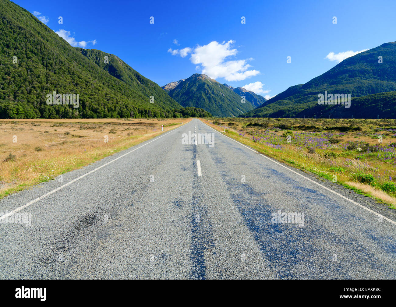 Scenic mountain road in the Southern Alps of the South Island of New Zealand Stock Photo