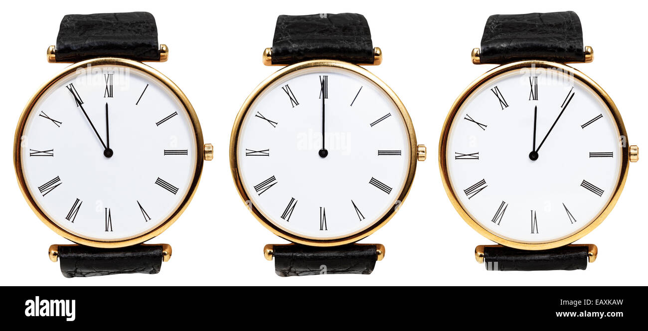 set of wristwatches with midnight time isolated on white background - Stock Image