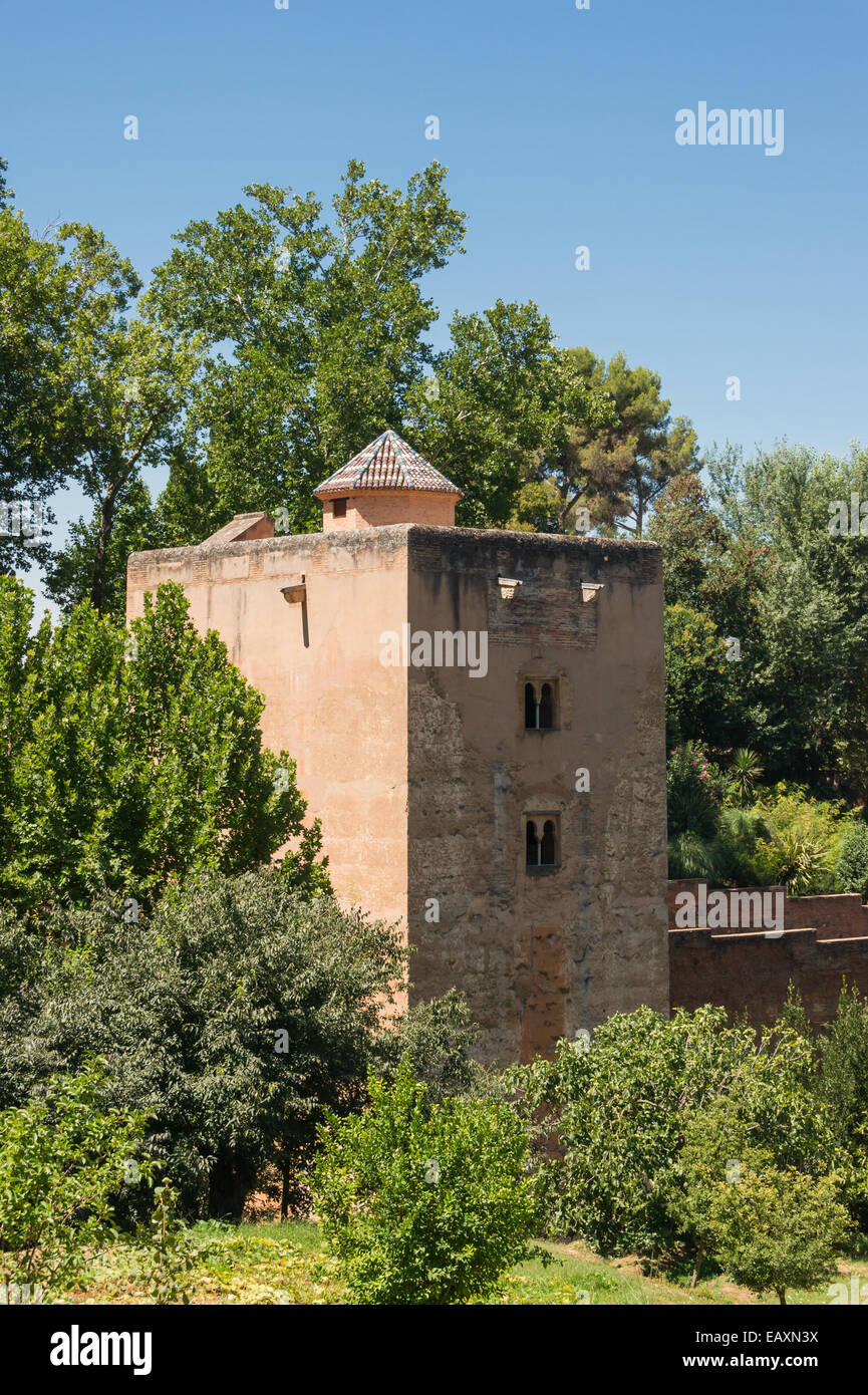 Tower of the Princesses, Alhambra, from Generalife gardens, Granada, Spain - Stock Image