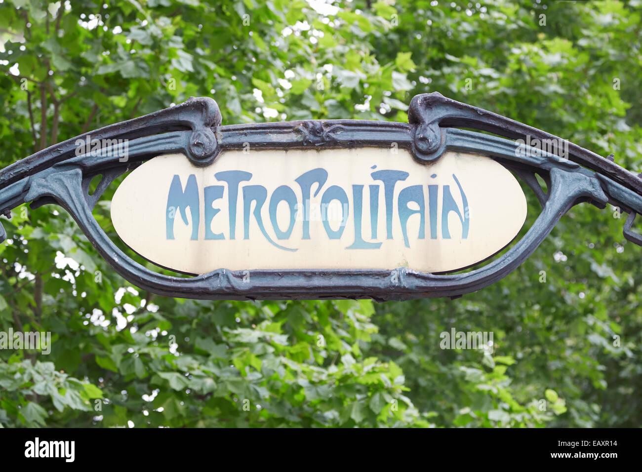 Paris metro, old art nouveau subway sign - Stock Image