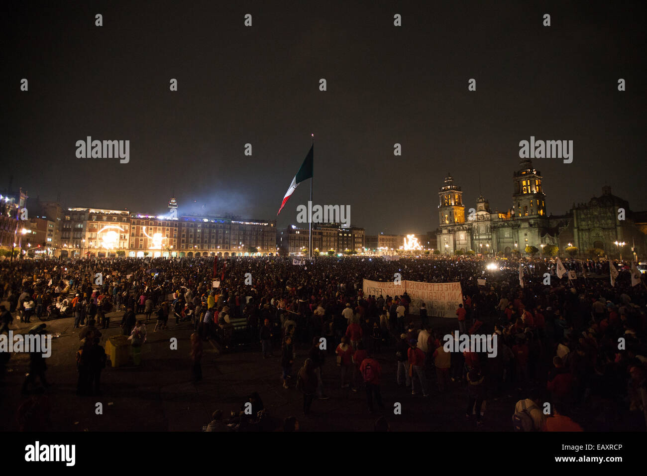 Massive march in support of the 43 missing Ayotzinapa's students in Mexico City Stock Photo