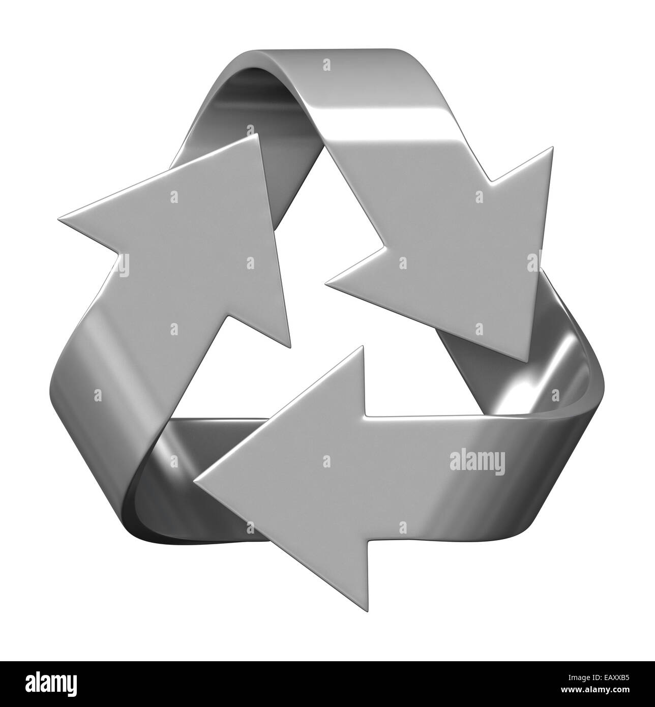 3d render of recycle symbol isolated on white background - Stock Image