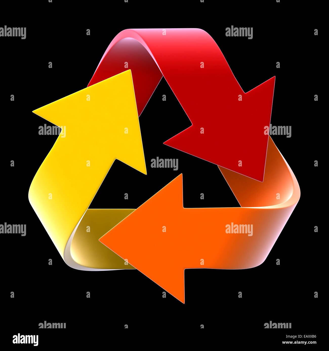 3d render of recycle symbol isolated on black background - Stock Image
