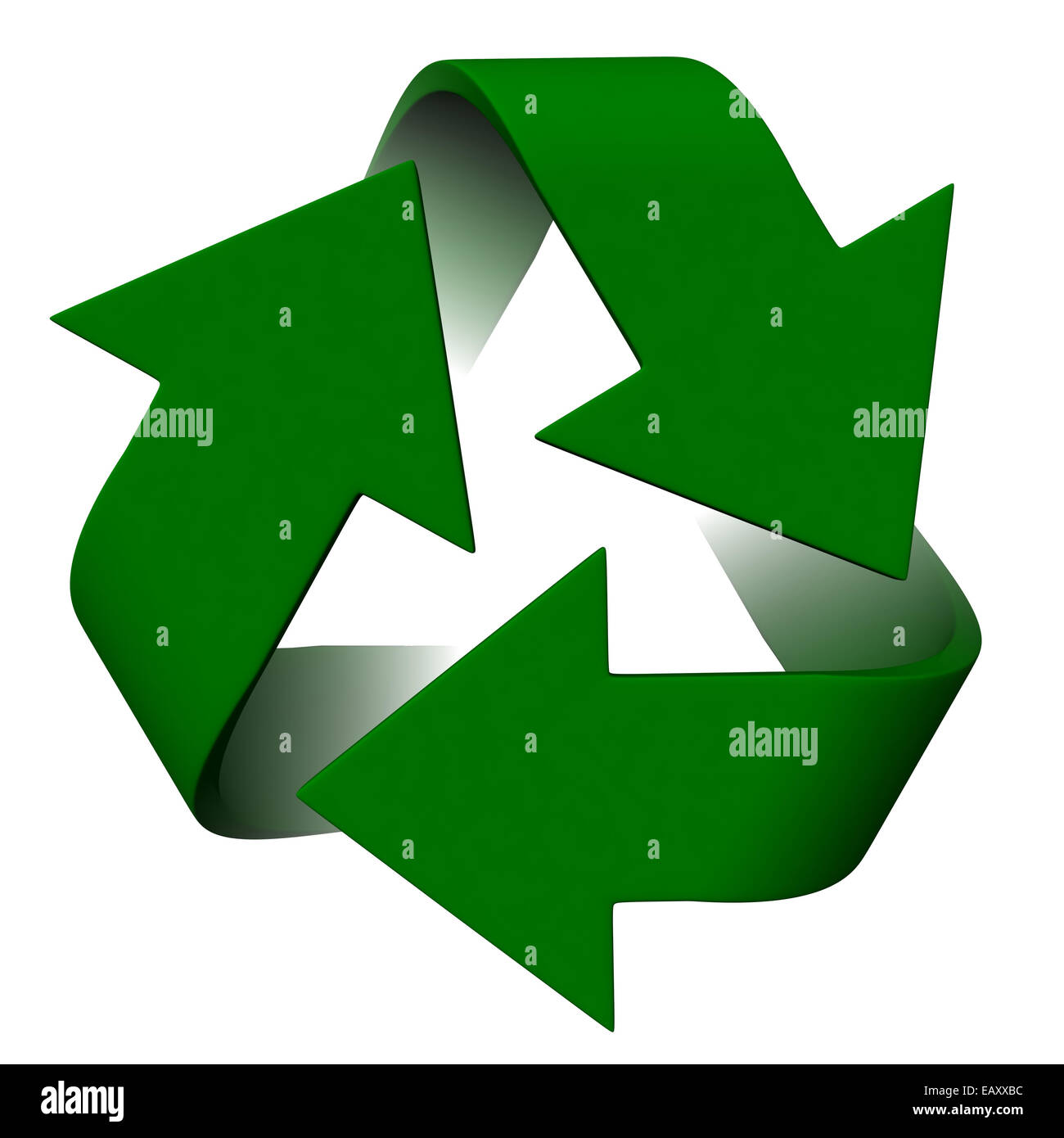 3d render of recycle symbol on white background - Stock Image
