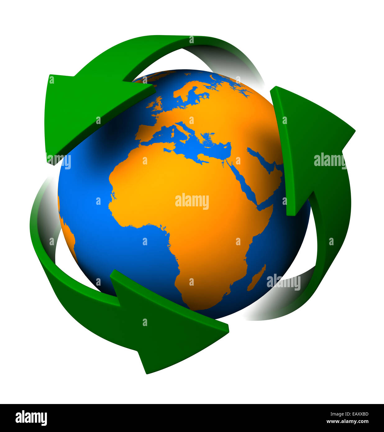 3d render of recycle symbol and abstract earth on white background - Stock Image