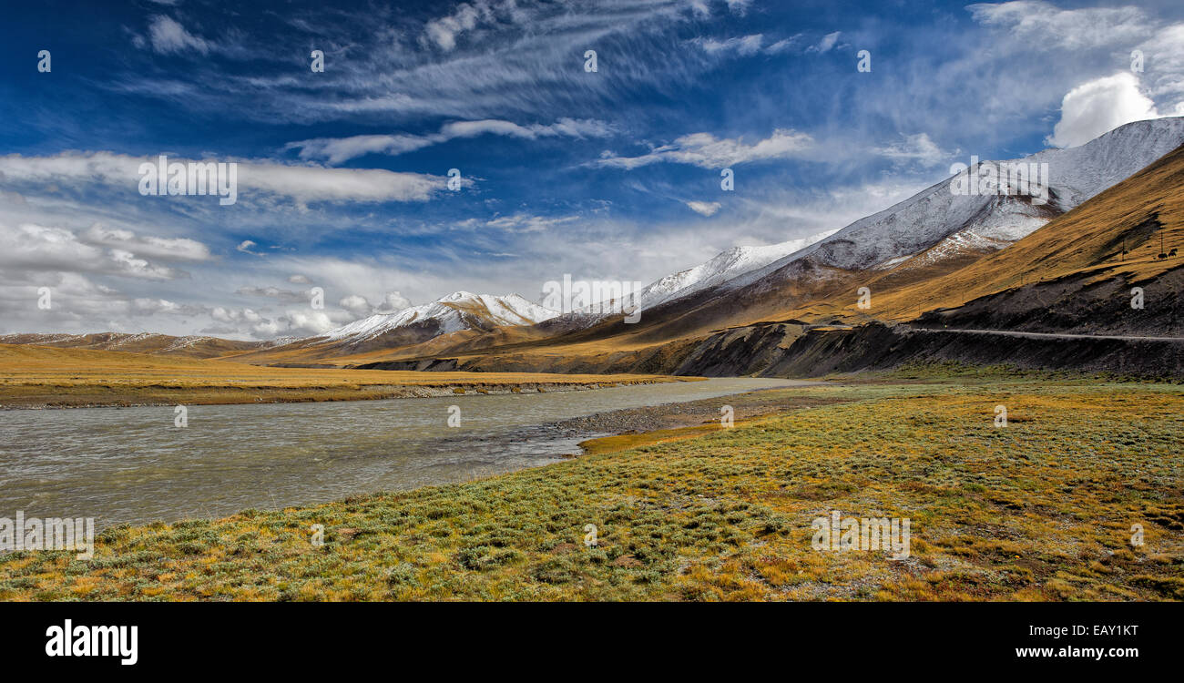 Rivers and streams on the Tibetan plateau, Qinghai province, China - Stock Image