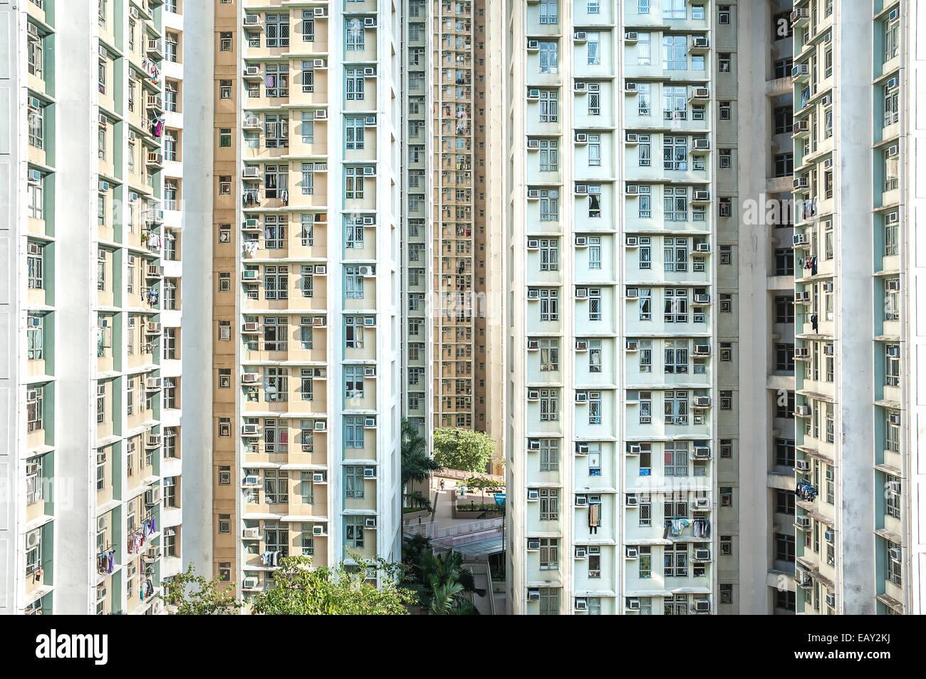 High-density public housing estate, Hong Kong - Stock Image