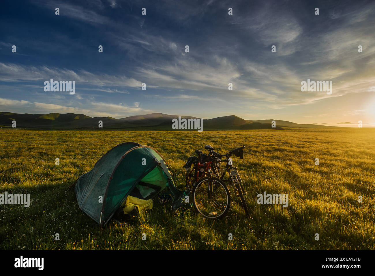 Camping on the grasslands of the Tibetan plateau, Sichuan province, China - Stock Image