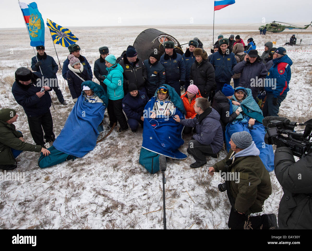 Expedition 41 Soyuz TMA-13M Landing - Stock Image