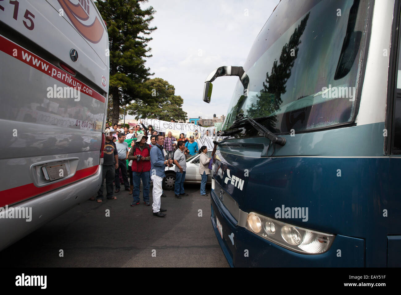 Parents and relatives of the 43 missing students from Ayotzinapa's teacher training college - Stock Image