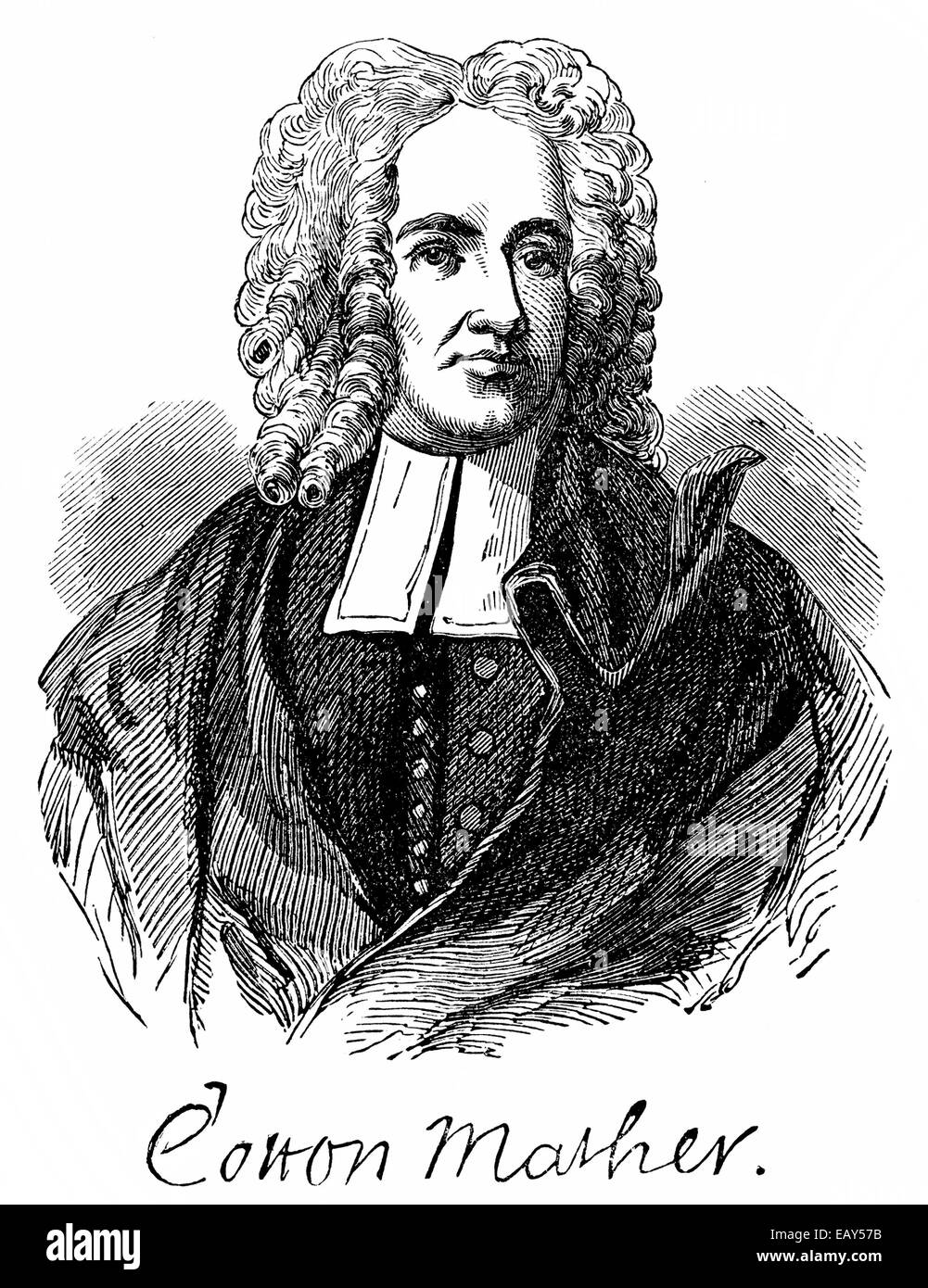 portrait of Cotton Mather, 1663 - 1728, a theologian, writer, Puritan preacher and church leaders of the New England - Stock Image