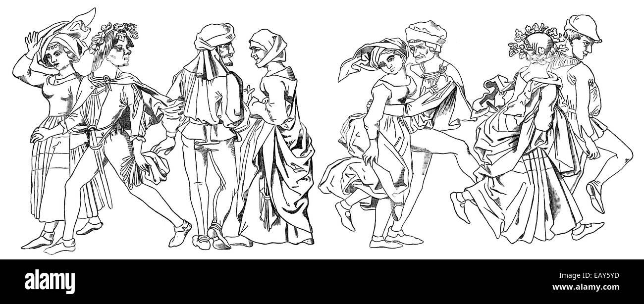 couples dancing, 16th Century, funfair dance or jumping dance, Tanzpaare im 16. Jahrhundert, Kirmes-Tanz oder Springender - Stock Image