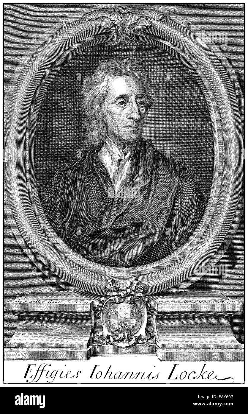 portrait of John Locke, 1632 - 1704, an English philosopher and thought leader of the Enlightenment, Portrait von - Stock Image